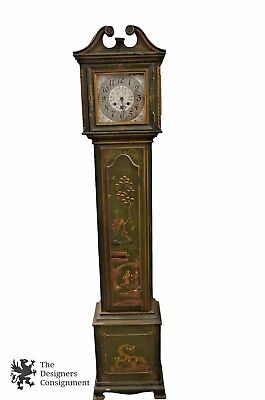 Vintage Grandmother Clock Chinoiserie Green Mauthe Germany 54/96 Oriental Scene