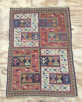 Antique Turkish Tuduc Hand Woven Rug With'S'design Motives