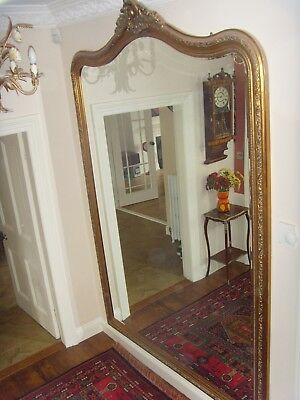Extra large Victorian style ,gilt arched top  Floor standing overmantle mirror