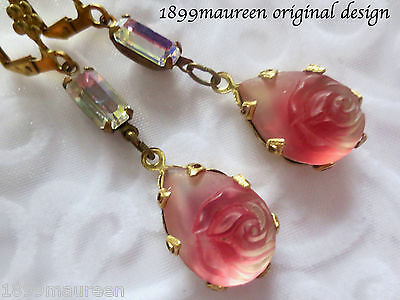 Victorian earrings Edwardian vintage style frosted rose red Art Nouveau Art Deco