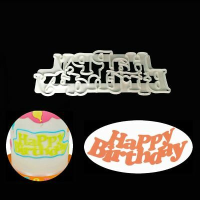 Happy Birthday Sugarcraft Cake Mold Fondant Cookie Cutter Embossing Mould