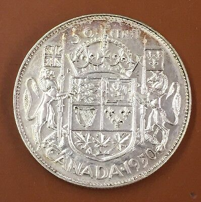1950 W/ Lines Canada Half 50 Cent Coin Canadian Fifty Cents