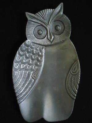 Vintage Owl Tray Dish Catch All Decor Metal Made in India 9.5""