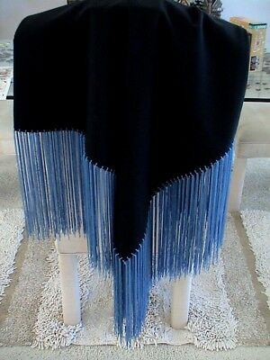 Auth.Native American Indian Northern Ute Hand Fringed Gabardine Shawl/ 80's