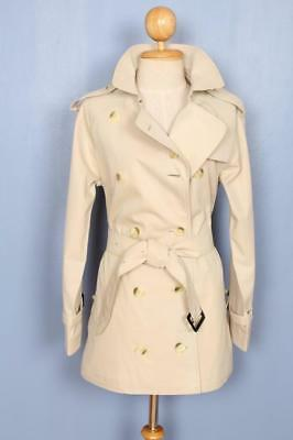 BEAUTIFUL Womens BURBERRY Double Breasted Short TRENCH Coat Mac Cream 8/10