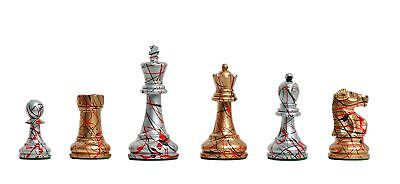 "Fischer Spassky Artisan Chess Set - Pieces Only - 3.75"" King - Gold and Silver P"