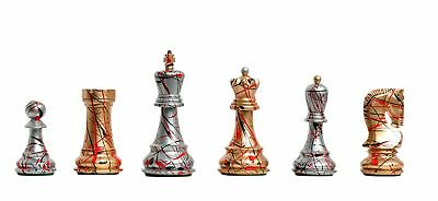 "The Zagreb '59 Artisan Chess Set - Pieces Only - 3.875"" King - Gold and Silver H"