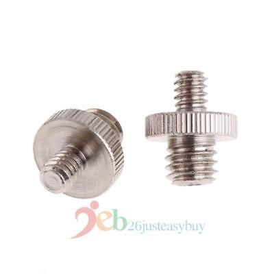 2Pcs 1/4 Male to 3/8 Male Metal Threaded Screw Convert Adapter for DSLR Camera