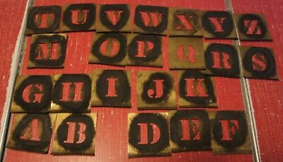 "Vintage 1"" & 2"" Brass Stencils Letters & Numbers Partial Sets 57 mixed pieces"