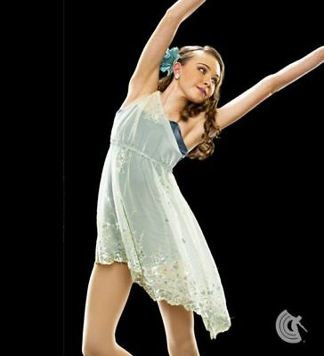 Divine Beauty Ivory Blue Embroidered Lyrical Ballet Contemporary Dance Dress CL
