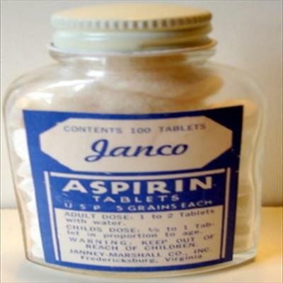 Janco Aspirin  Bottle 100 Tablets  Full  Fredericksburg  Va.