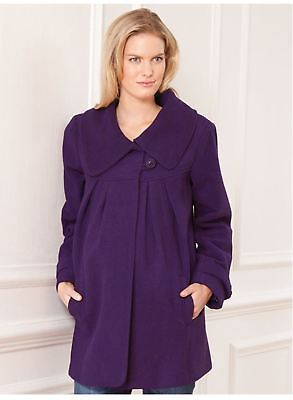 New JoJo Maman Bebe Maternity Purple Wool Blend Swing Coat Jacket S US 4/6 ;UK 8