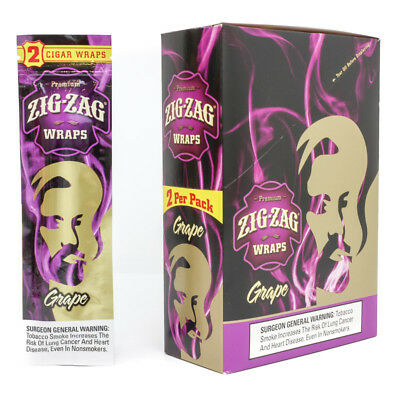 Zig Zag Cigar Wraps 2 Per Pack. Grape  25 Packs Per Box  50 Wraps Total