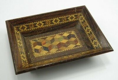 Antique 19th century rosewood Tunbridge Ware inlaid tray dish perspective cube
