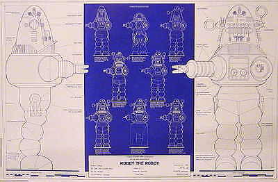 """Original 1970s Forbidden Planet Robby the Robot Blueprint Poster-24""""x36""""- Rolled"""