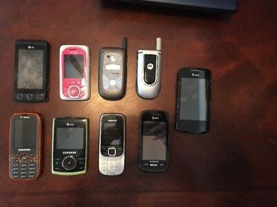 Lot Of 9 Old Cell Phones For Parts - Untested