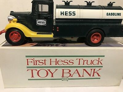 Vintage 1985 First Hess Truck Toy Bank  in original box pre-owned