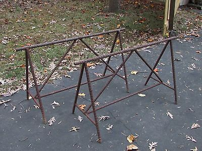 Old or Antique Vintage Industrial Saw Horse Iron Table Base Pair