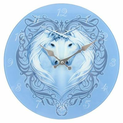 Beautiful Unicorn Heart Blue Glass Clock From The Anne Stokes Collection