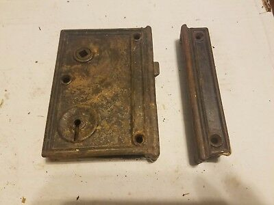 Antique Large Cast Iron Mortise Door Locks Rim Locks Architectural Salvage 5x4