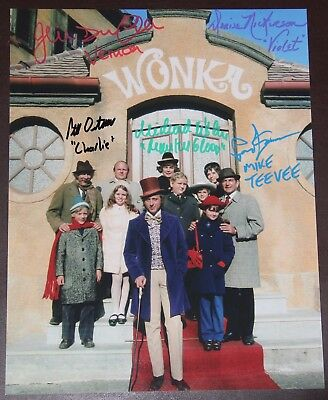 """11"""" X 14"""" Willy Wonka Exterior Scene Autographed (Signed) By Five + Bonuses!!"""