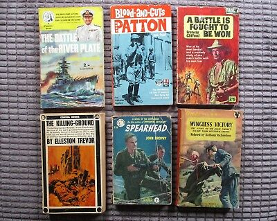 Selection Of 6 Vintage World War 11 Paperbacks Patton River Plate Falaise Burma
