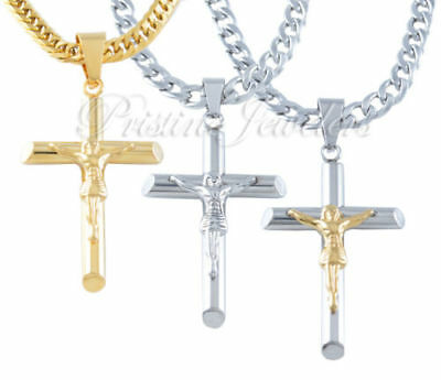 Mens Stainless Steel Gold Jesus Cross Pendant Cuban Curb Chain Necklace Crucifix
