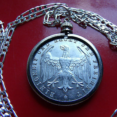 """1923 GERMAN EAGLE 500 MARK Coin Pendant on a 20"""" .925 Sterling Silver Chain"""
