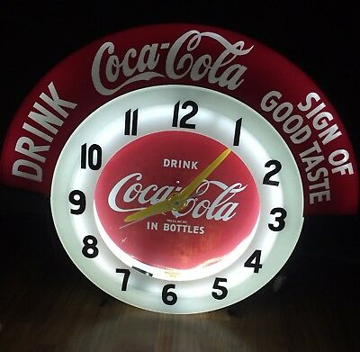 1950s DRINK COCA COLA SIGN OF GOOD TASTE NEON OUTDOOR CLEVELAND ELECTRIC CLOCK
