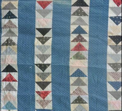 1900-20 Charming Primitive Indigo Flying Geese Antique Vintage Quilt Top