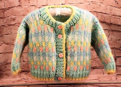 Hand-knit Vintage Sweater Multi Color Acrylic Cardigan Button Down Girls Size 2