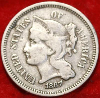1867 Philadelphia Mint Nickel Three Cent Coin Free Shipping