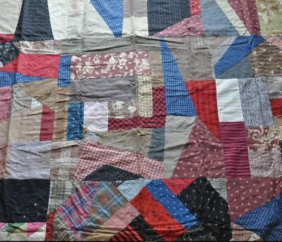 1880-1910 – Primitive Vintage Antique Crazy Quilt Top With Repurposed Backing!