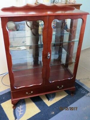 Crystal Cabinet  Solid Timber  Cedar  Excellent Condition With Key