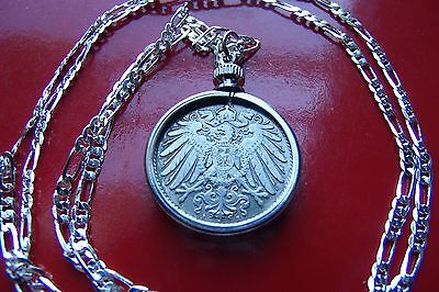 "IMPERIAL GERMAN EAGLE COIN PENDANT set on a 20"" .925 Sterling Silver Chain"