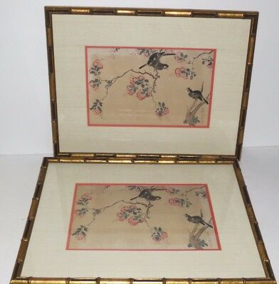 * Vintage Pair Of Chinese Stamped Signed Prints - Framed *