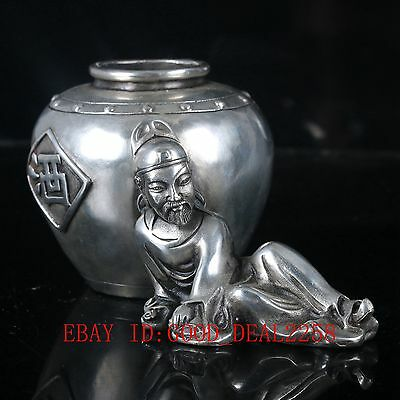 """Old Silver Copper Hand Carved Pot,""""Li Bai the Poetry Immortal statue""""   诗仙李白"""