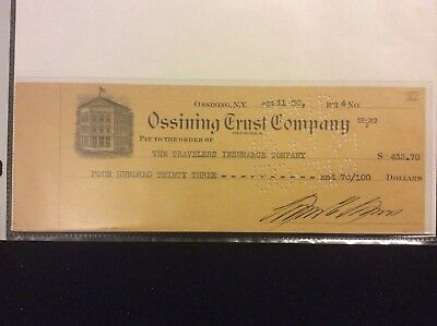 Lewis Laws Warden Sing Sing Prison signed check 1934.