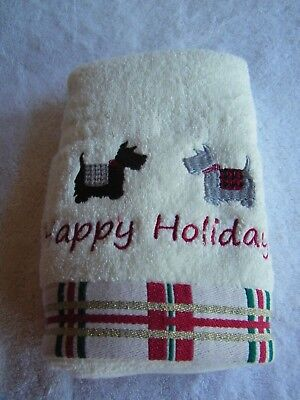 """NWT Set of Two Scottie Dogs & Westie Dogs """"Happy Holidays"""" Plush Hand Towels"""
