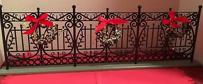 Byers Choice Wrought Iron Fence with Wreaths and Bows - Buy It Now