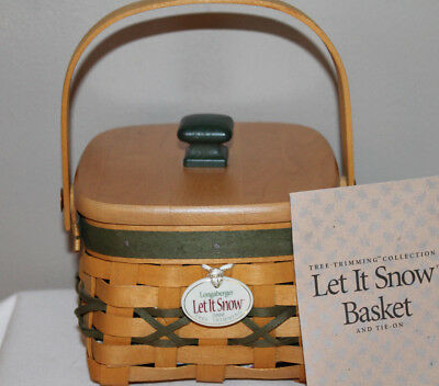 2000 Longaberger Let It Snow Basket, Fabric, Protector , Lid, Tie-On, Card, Tree