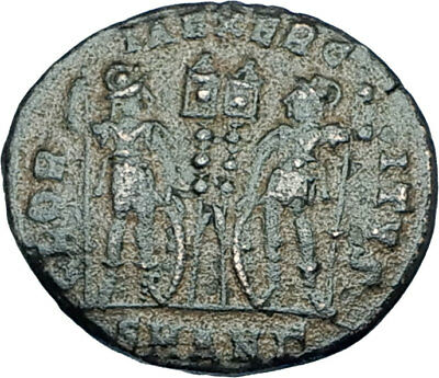 CONSTANTINE I the GREAT 330AD Authentic Ancient Roman Coin w SOLDIERS i65965