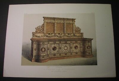 1863 color litho -  Carved oak sideboard, by Caldecott, London; expo honors