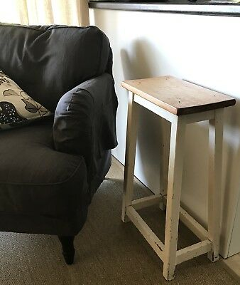 Vintage Stool Farmhouse Industrial Retro Cream Timber Wooden Table Side