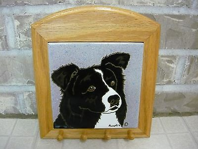 Border Collie Tile Trivet Key Leash Holder Wall Hanging by Pumkin Inc