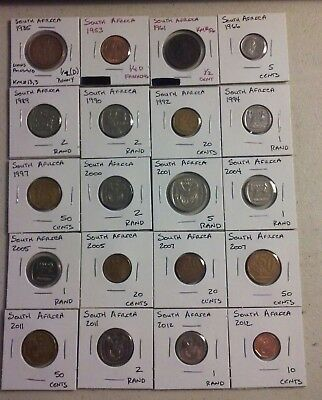 South Africa Coin Lot - (1935 to 2012) - 20 Different Carded Coins - (#CWC177)
