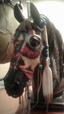 "Large,13"",native Spirit Indian War Painted Horse Sculpture Feathers,leather Mask"