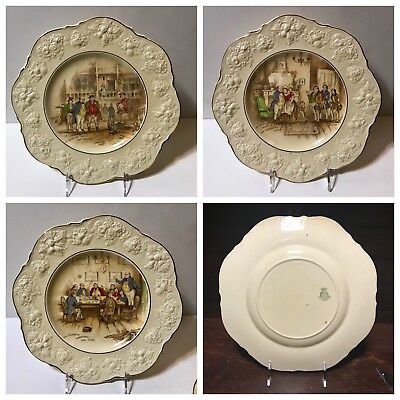 3 Crown Ducal Dickens Scene Dinner Plates - NEAR MINT Condition