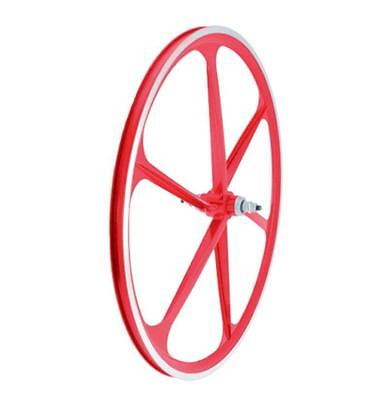 Front wheel fixed track alloy 6 spokes 30mm red RMS Bike
