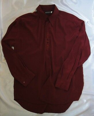 New Men's Business Formal Casual Shirt Size S Long Sleeve Burgundy